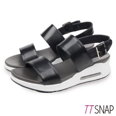 TTSNAP氣墊涼鞋-一字雙層寬帶厚底涼鞋 黑