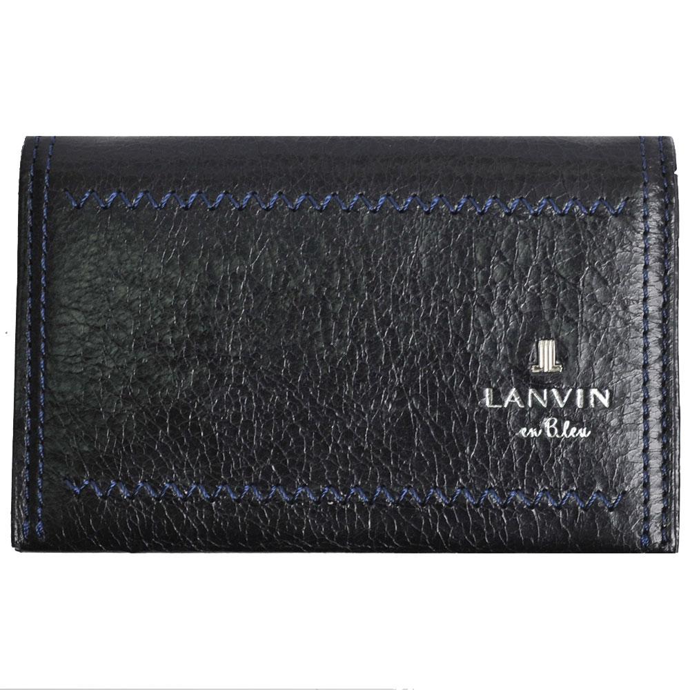 LANVIN en Bleu 品牌經典LOGO圖騰牛皮名片夾(黑/藍線)