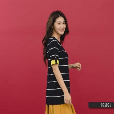 【KiKi】休閒條紋配色袖-針織衫(白色)