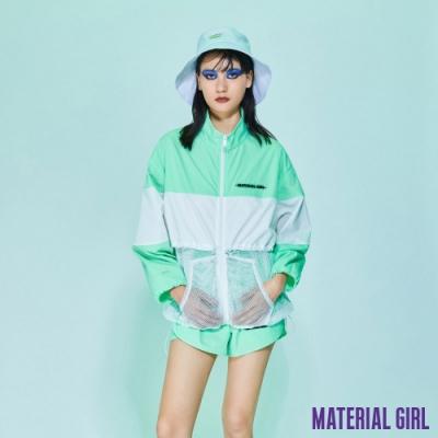 MATERIAL GIRL 運動高領拼接撞色透膚外套【20夏季款】-Z084