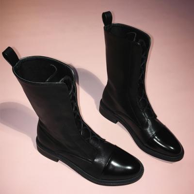 KEITH-WILL時尚鞋亮面素面綁帶平底靴-黑色