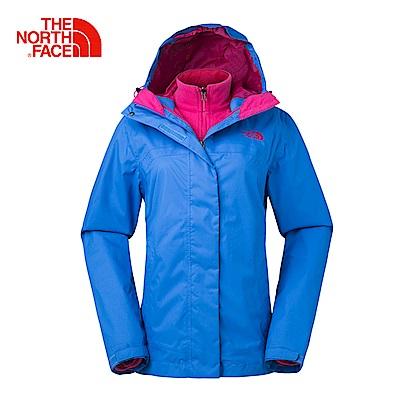The North Face北面女款藍色透氣絨面三合一外套