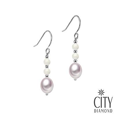 City Diamond引雅 【手作設計系列 】天然白瑪瑙珍珠長掛垂式耳環