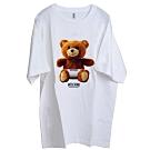 MOSCHINO 可愛小熊LOGO圖騰100%棉質長寬版T恤OVER SIZE(白/L)