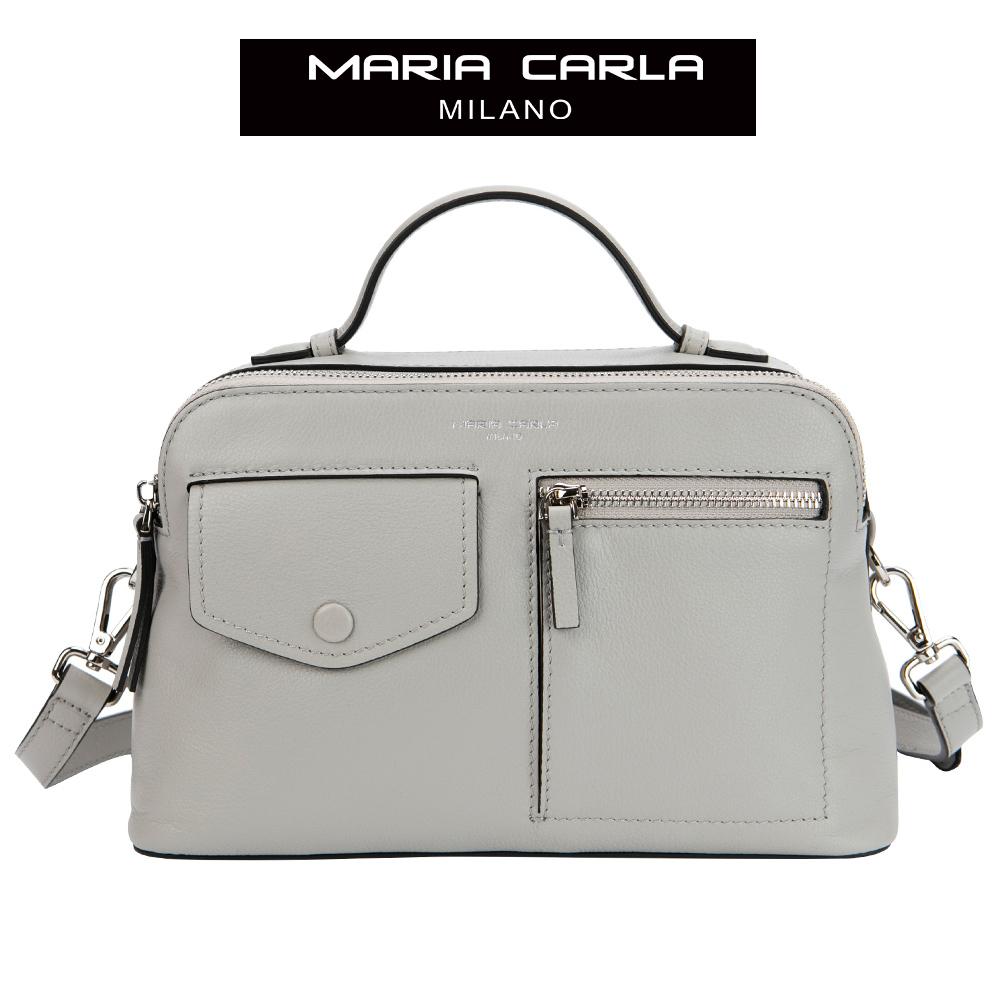 MARIA CARLA 雙夾層率性軟皮斜背包 知性OL系列(氣質灰)
