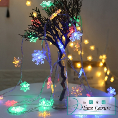 Time Leisure LED派對佈置多功能USB耶誕聖誕燈飾燈串(雪花/彩色/10M)
