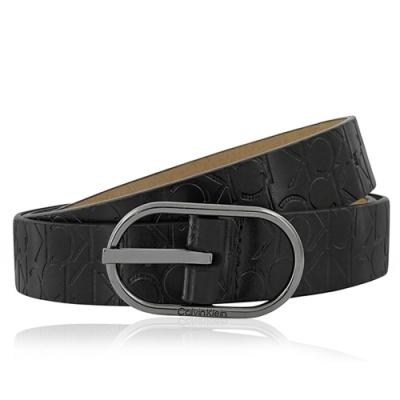 Calvin Klein 黑色LOGO烙印皮革圓釦紳士皮帶(M號/33-37吋)