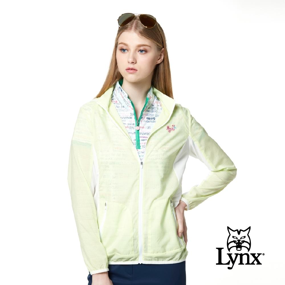 【Lynx Golf】女款吸濕排汗網狀透氣Lynx繡花可拆式連帽長袖外套-黃色