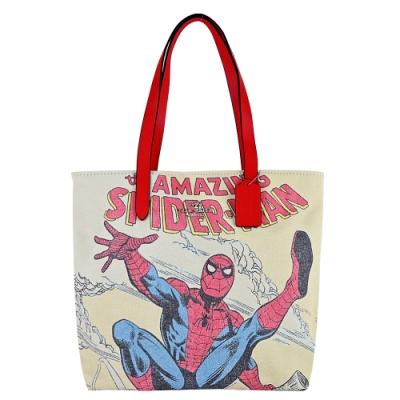 COACH MARVEL聯名彩色漫畫風帆布購物包(蜘蛛人)