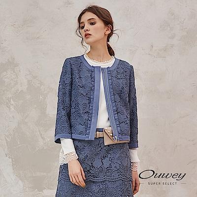 OUWEY歐薇 精緻花卉水溶蕾絲圓領短版外套(藍) @ Y!購物