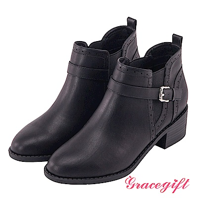 Grace gift-牛津雕花帶釦側鬆緊短靴 黑