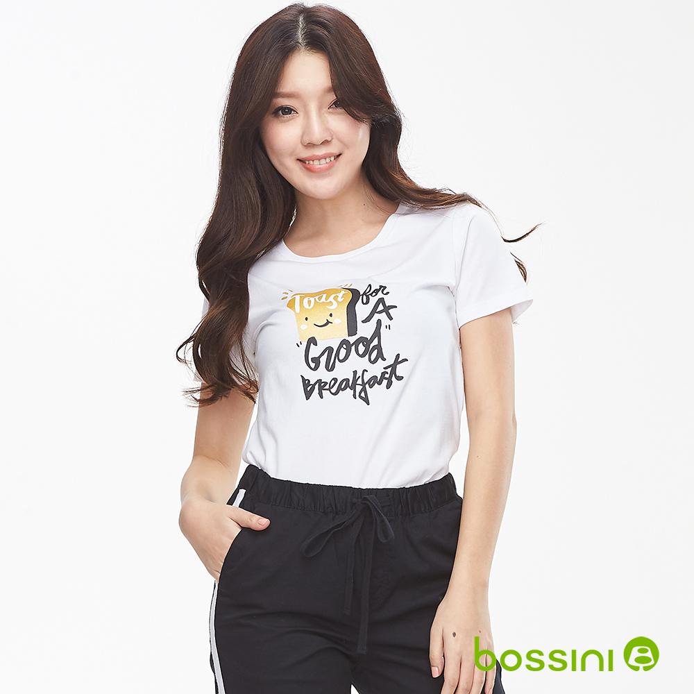 bossini女裝-印花短袖T恤05白