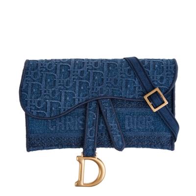 DIOR SADDLE藍色DIOR OBLIQUE刺繡丹寧布手拿/斜背/腰包