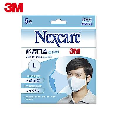 3M Nexcare 清爽型舒適口罩 (L尺寸 / 5片包)