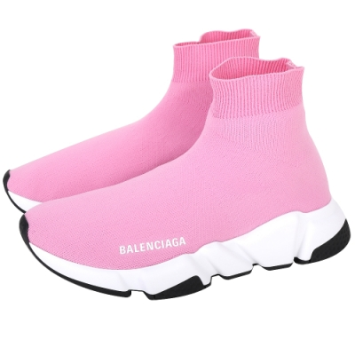 BALENCIAGA Speed Trainer 芭比粉針織襪套式運動鞋
