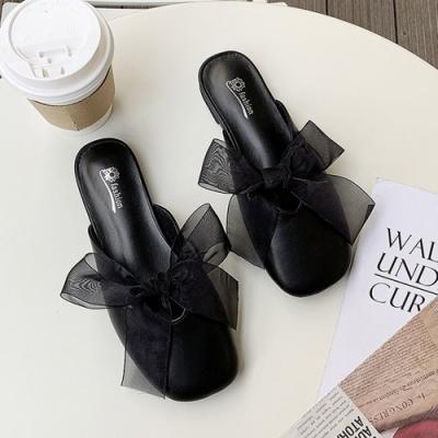 韓國KW美鞋館 活力時光蝴蝶鞋薄紗穆勒鞋-黑