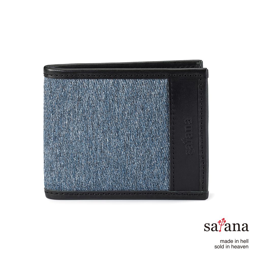 satana - 雅痞鈔票夾式短夾 - 丹寧藍