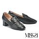 高跟鞋 MISS 21 百搭小時髦學院風菱格紋樂福高跟鞋-黑 product thumbnail 1