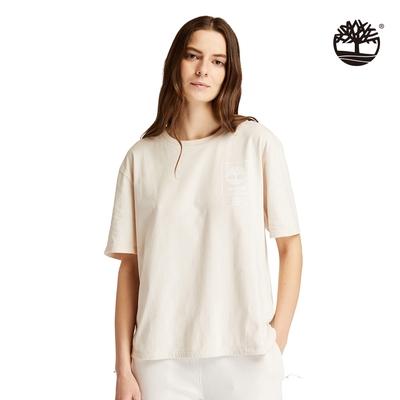Timberland 女款白沙色Utility有機棉寬鬆短袖T恤 A23FABH7