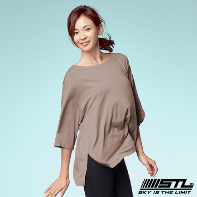 STL Chalang Trim T-shirt 韓運動一字領落肩長版上衣 苗條裸膚