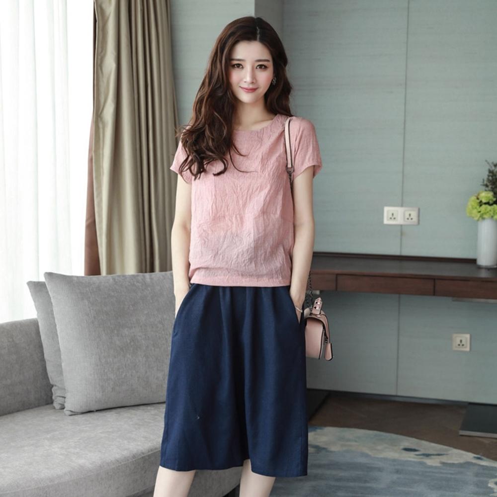 舒適簡約時尚棉麻套裝裙組S-3XL(共四色)-SZ