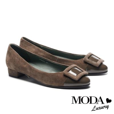 低跟鞋 MODA Luxury 沉穩內斂方釦異材質拼接尖頭低跟鞋-綠