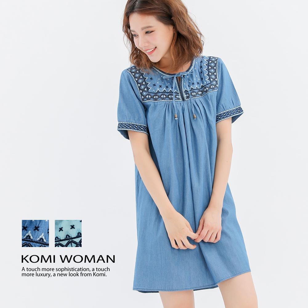 【KOMI】輕丹寧民族風刺繡洋裝-二色