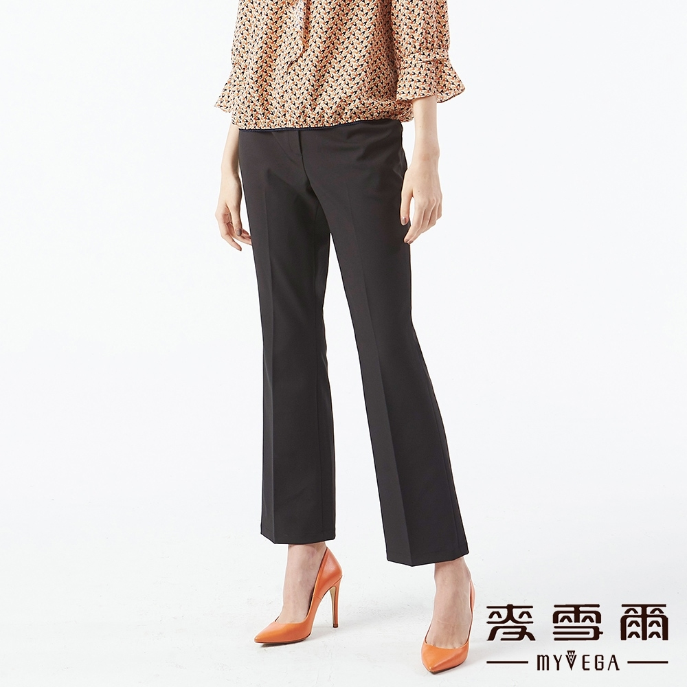 MYVEGA麥雪爾 G形釦直筒西裝褲-黑