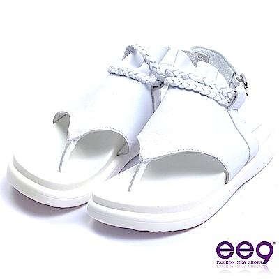 ee9 經典手工露趾厚底夾腳涼鞋 白色