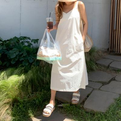 2F韓衣-簡約素色修身無袖造型洋裝-2色(不含內搭F)
