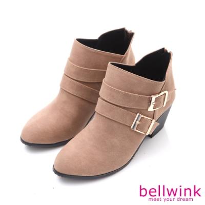 bellwink 小V金屬後拉鍊低跟靴-駝色-b9705lc