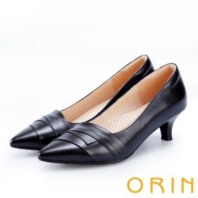 ORIN 成熟魅力款 造型斜邊羊皮尖頭中跟鞋-黑色