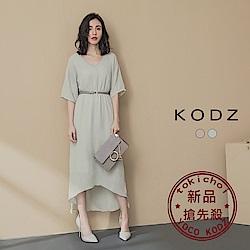 東京著衣-KODZ 飄逸柔美V領長版側開岔皺感洋裝-S.M(共二色)
