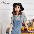 Victoria 抽縐肩荷葉波浪短袖T-女-藍白條