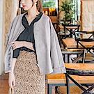 蜜桃絨手感袖口反褶純色傘襬外套 -OB大尺碼