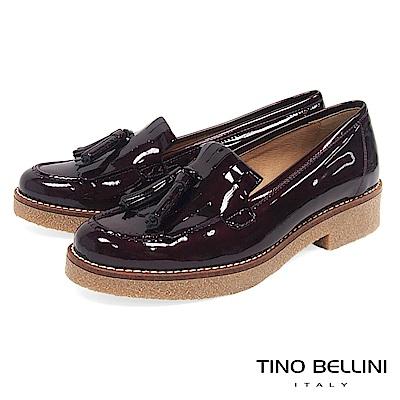 Tino Bellini 西班牙進口雙層漆皮流蘇低跟樂福鞋 _ 酒紅