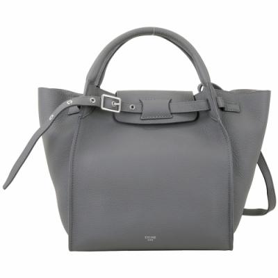 CELINE BIG BAG 小型 柔軟珠地小牛皮肩背手提包(灰色)