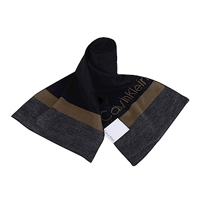 CK Calvin Klein 素面雙色LOGO橫條圍巾(深藍X咖啡)