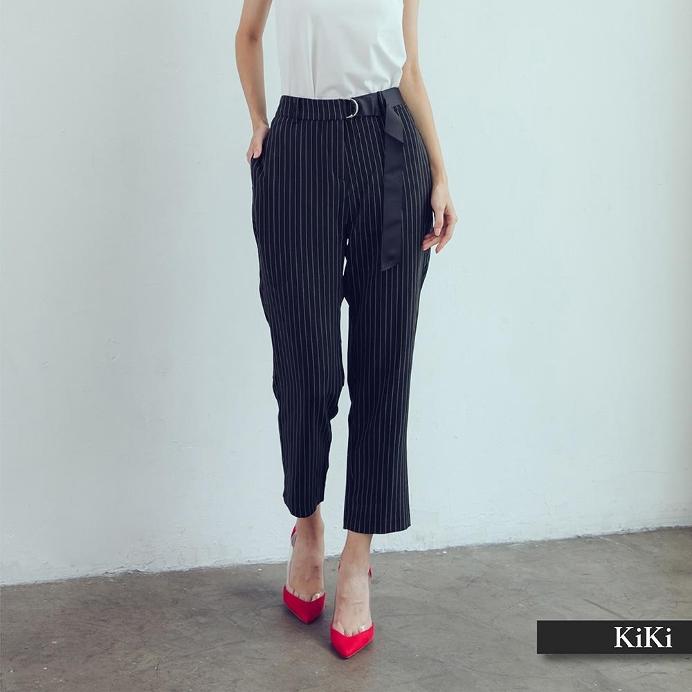 【KiKi】雙環繫帶條紋-女長褲(二色/版型適中)