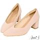Ann'S天堂版型-顯瘦V口霧面純色粗跟方頭跟鞋-粉 product thumbnail 1