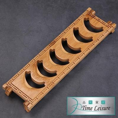 Time Leisure 天然竹製品茗瀝水杯架/功夫茶具配件-長方六格