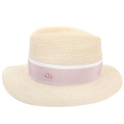 Maison Michel粉色羅緞綢帶麻草編紳士帽