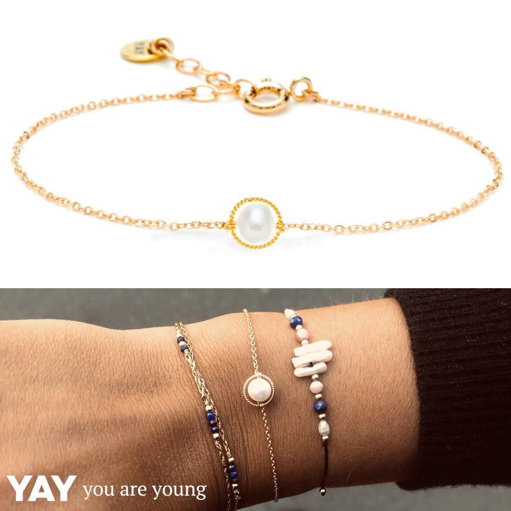 YAY You Are Young法國品牌Riviera白色珍珠手鍊 金色圓形款 蔚藍海岸