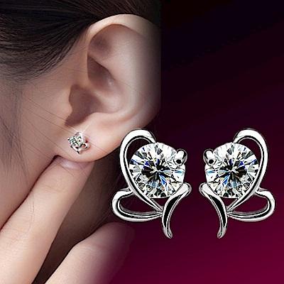 I.Dear飾品-正白K-思物語-韓國簍空弧形造型晶鑽銀色耳針耳環DB39
