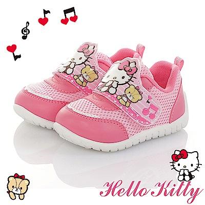 HelloKitty 音符系列 輕量減壓抗菌防臭休閒童鞋-桃粉