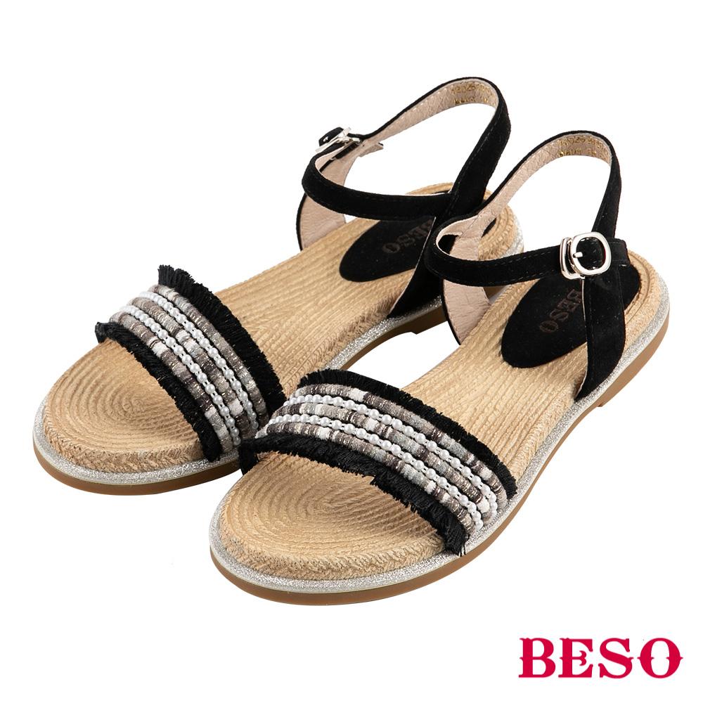 BESO 波希圖騰 流蘇繫帶涼鞋~黑