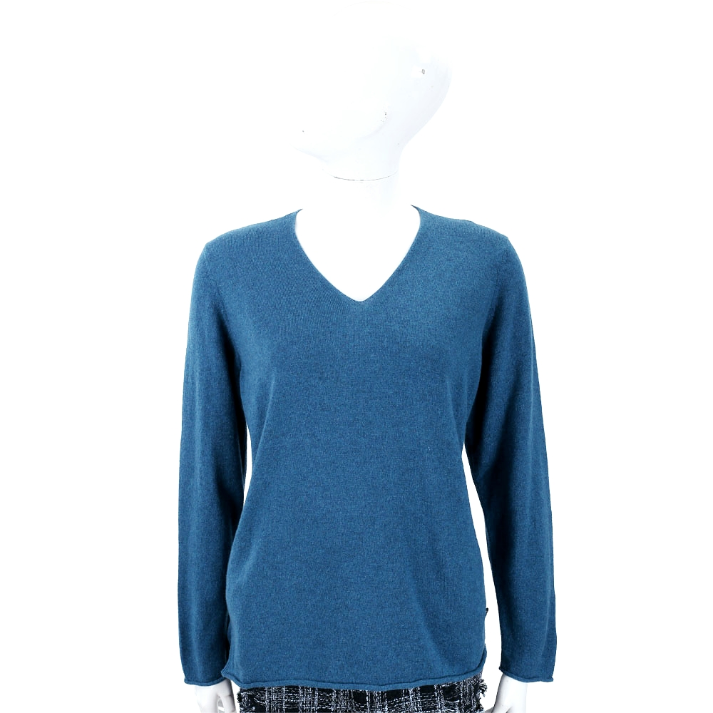 Andre Maurice 喀什米爾藏藍色捲邊細節V領羊毛衫