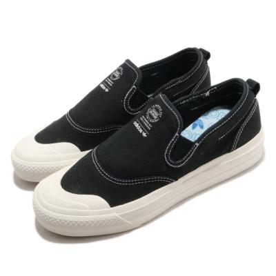 adidas 休閒鞋 Nizza RF Slip On 女鞋 海外限定 愛迪達 三葉草 無鞋帶 懶人鞋 黑 白 EF1411