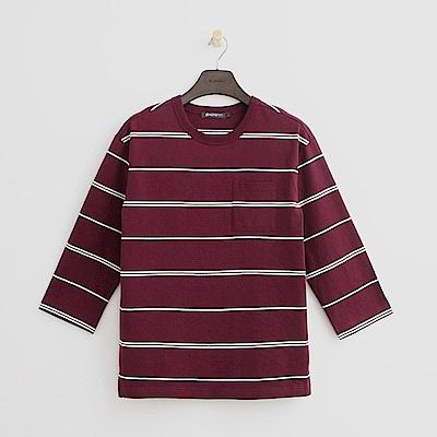 Hang Ten - 男裝 - 雙色細條紋圓領上衣-紅色