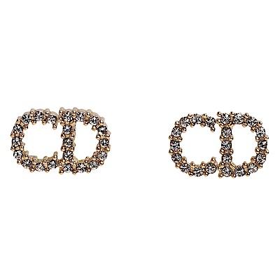 DIOR 經典Clair D Lune CD LOGO水鑽鑲飾造型穿式耳環(金)